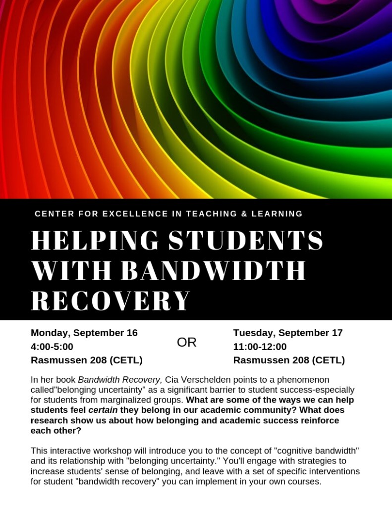 Flier for workshop on helping students with bandwidth recovery