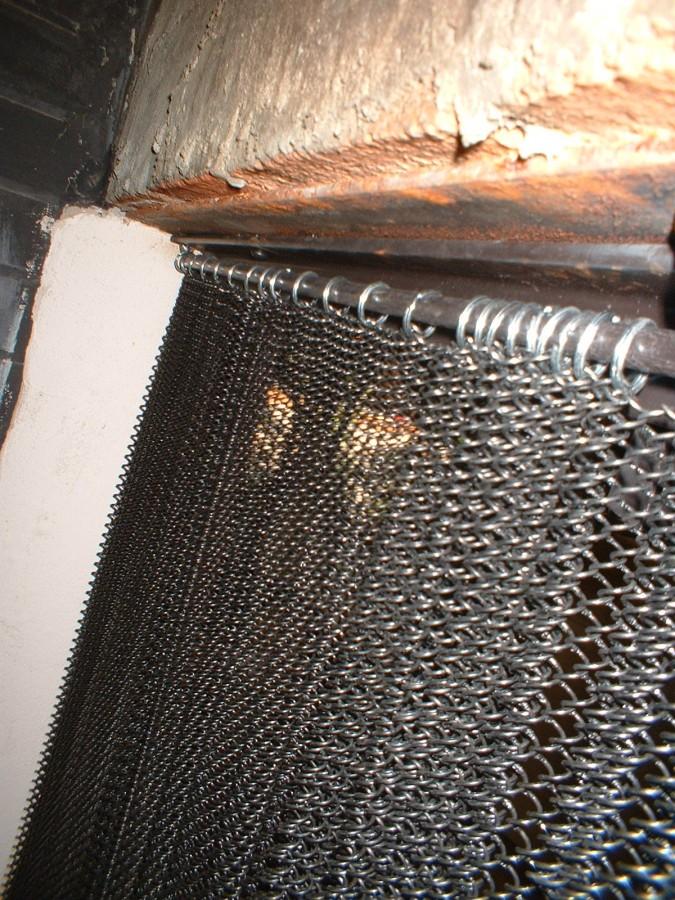 Custom Fabricated Mesh Curtain Fireplace Screen