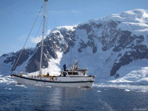 Scott Simper films on board the Australis, the 76-foot sailboat we took from Tierra del Fuego to Antarctica, 2009. Photo: Chris Davenport
