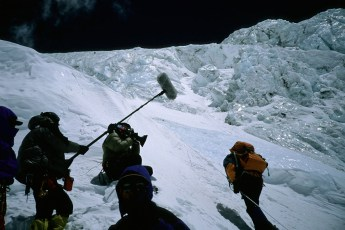 National Geographic crew films climbers on the Lhotse Face, Mt. Everest