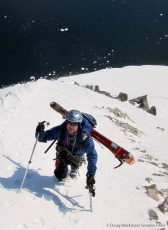 Jim Surette hiking the summit ridge on The Sphinx, Antarctic Peninsula, 2009. Photo by Doug Workman