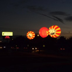 Lighted Wimpy Kid Balloons outside Kennedy Jr. for the event.