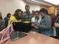 Photo from a BreakoutEDU session at UCET 2017 facilitated by Tricia Fenton and Sarah Robinson.