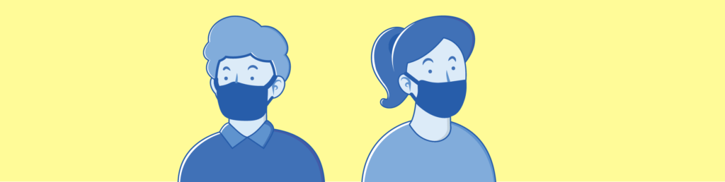 Vector drawing of two students wearing masks