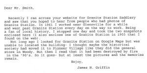 Letter to Granite Station