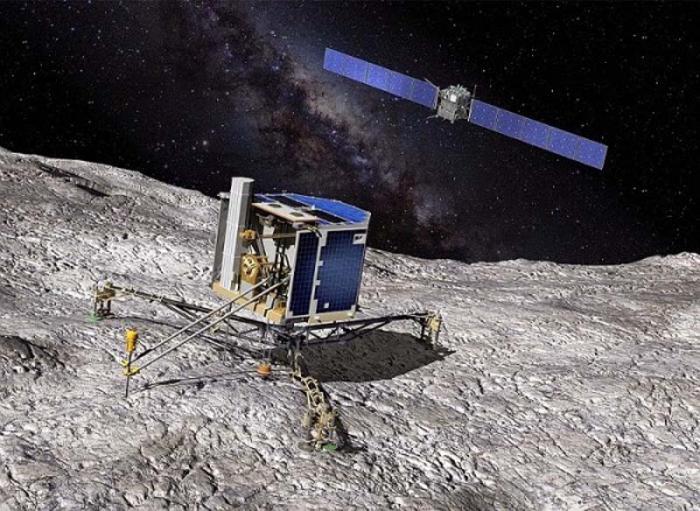 Imagen de referencia del robot Philae y su aterrizaje sobre el cometa 67P/Churyumov-Guerasimenko.