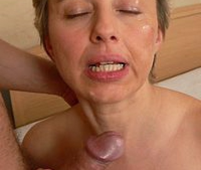 Granny Gets Her Face Whitened With Cum