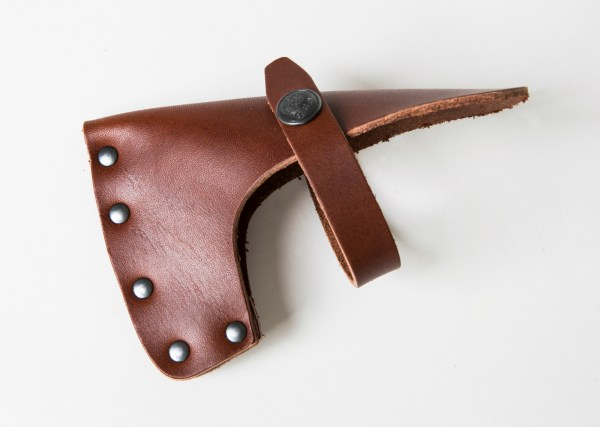 brown leather sheath for axe head
