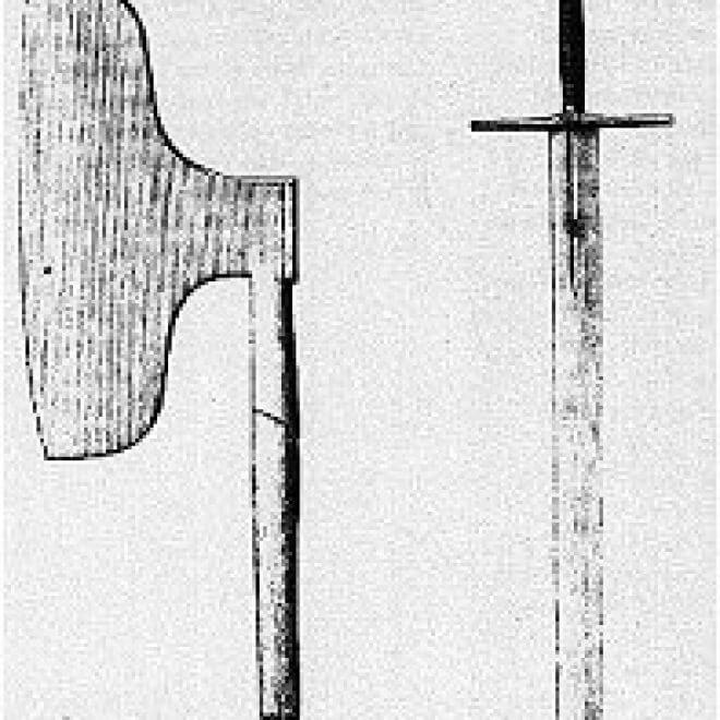 black and white drawing of a broad axe
