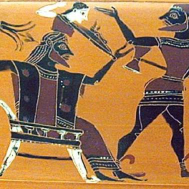 Art image of ancient times with axe