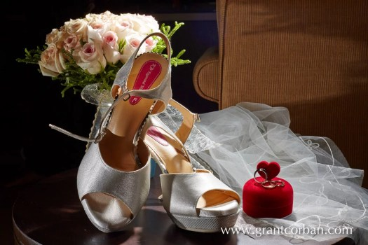 wedding bridal bouquet shoes and ring