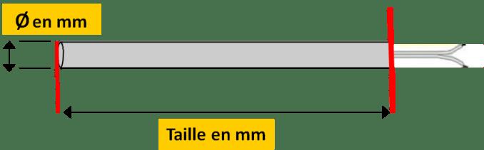 mesure bougie poele granulés tige