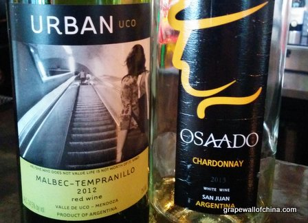 osaada chardonnay from san juan and o'fournier tempranillo malbec from mendoza argentina argenchina wine tour beijing china.jpg