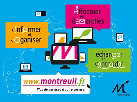 Affiche publicitaire Présentation nouveau site Montreuil.fr à base de typographie