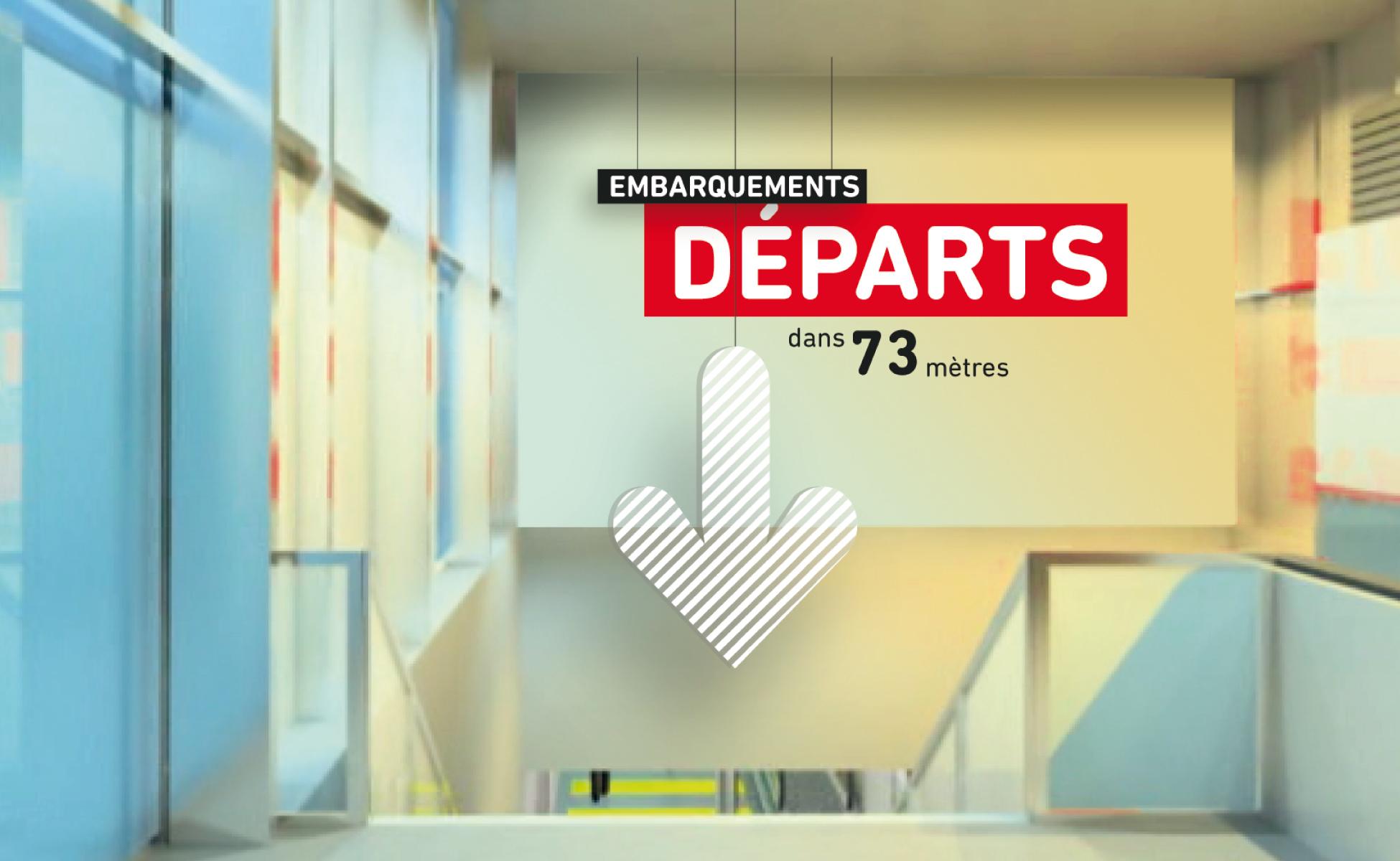 Panneau signalétique dans un hall d'aéroport