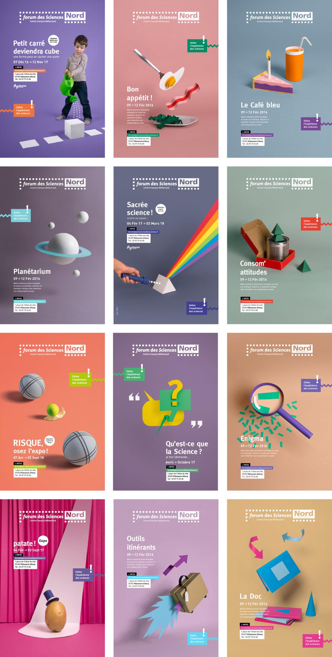 collection d'affiches pour la fête des sciences DIY paper art