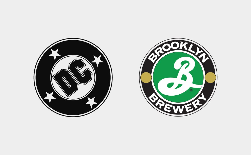 DC comics logo et Brooklyn Brewery