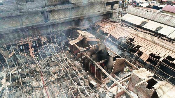 Aerial view of some the burnt stalls at Asafo Market