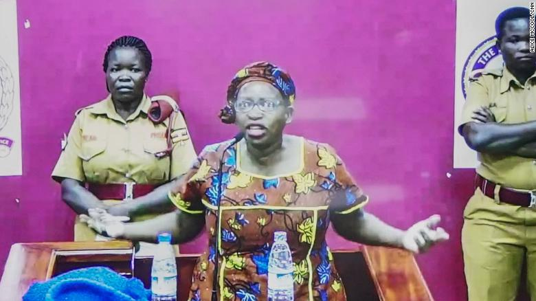 Stella Nyanzi was not permitted to physically attend the court to hear her sentencing, instead appearing on a television screen.