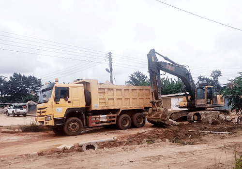 Heavy machines at work on the Cape Coast Technical University road