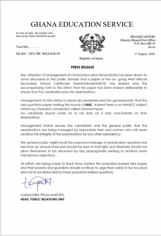 GES on fake wassce papers