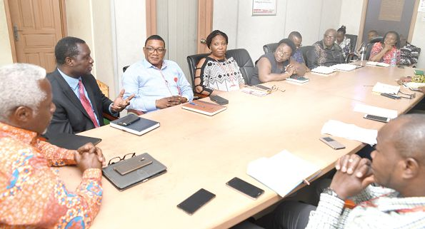 Dr Yaw Osei Adutwum (2nd left) speaking during the meeting with members of the Daily Graphic Editorial team. Picture: Maxwell Ocloo