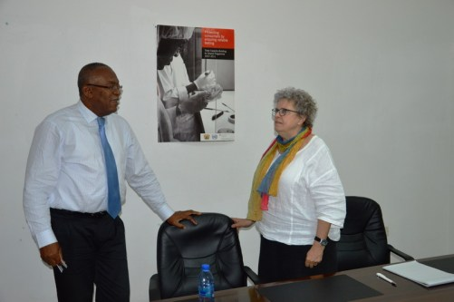 Mr Victor Mills Left and Carola Heider Right chatting after the meeting