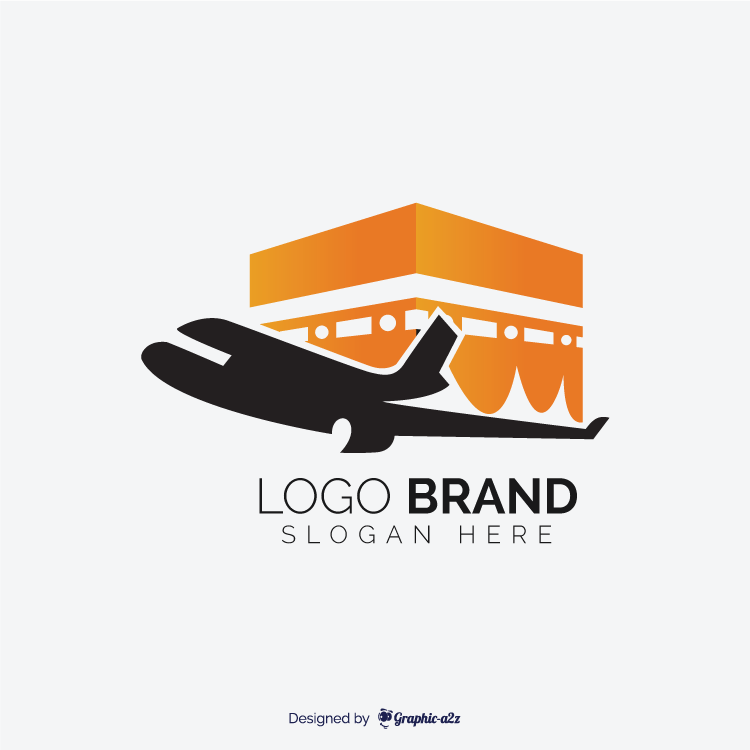 Hajj travel agency vector logo design and kaaba