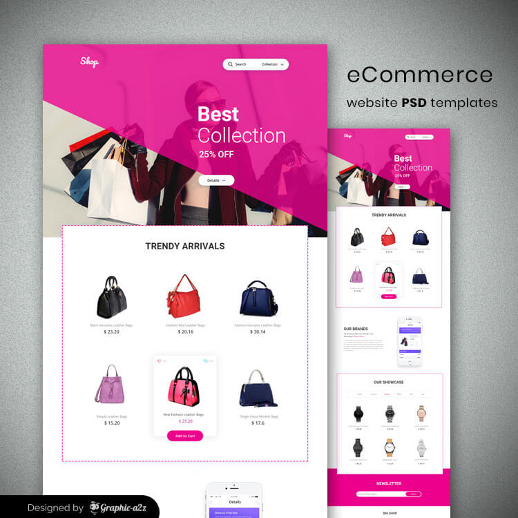eCommerce website psd templates free download