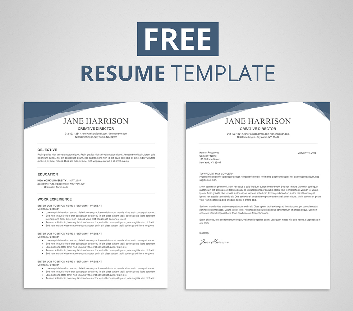Free Resume Template For Word Amp Photoshop