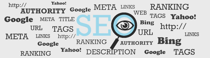 SEO terms in a text cloud - Yahoo, Google, Bing, URL, tags, ranking, web, links, http://, description, authority, meta, title