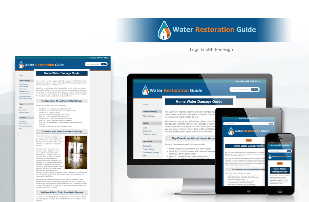 Water Restoration Guide website design