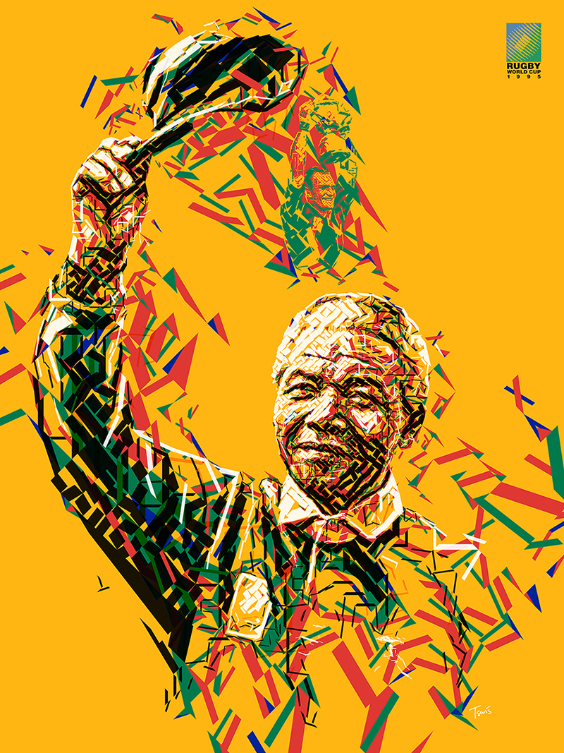 Nelson-Mandela,-Rugby-World-Cup,-1995-by-Charis-Tsevis