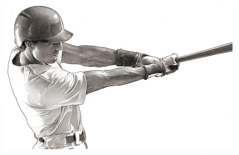 Portrait-Stipple-BaseballPlayer Stipple by Randy Glass Studio