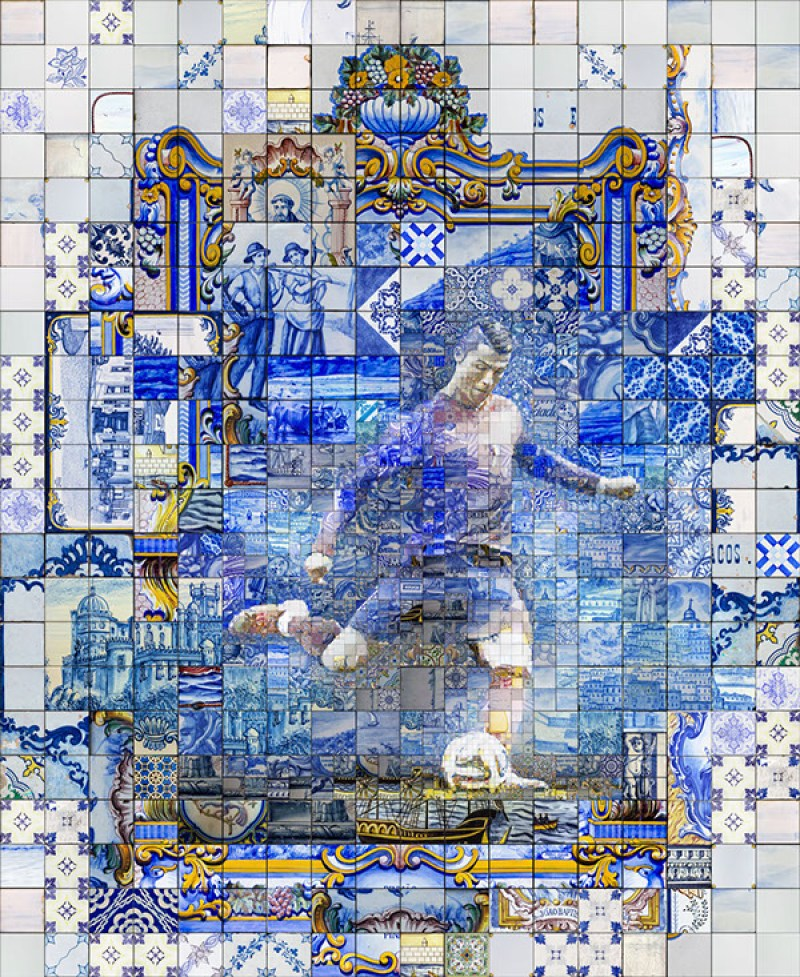 This is the seventh of a series of mosaic illustrations based on the great tradition of Azulejos. This 5 centuries old form of tile painting art is a typical part of Portugues (Spanish and Latin) tradition. I am experiment with these treasures for long time. This is one of the first artworks based on the studies. A portrait of Cristiano Ronaldo, probably the biggest popular hero of contemporary Portugal and one of my favorite athletes. This guys is not just an incredible soccer player. He's is much more than this. He's an artist, a show man, a working class hero, a role model, a hard working entrepreneur...