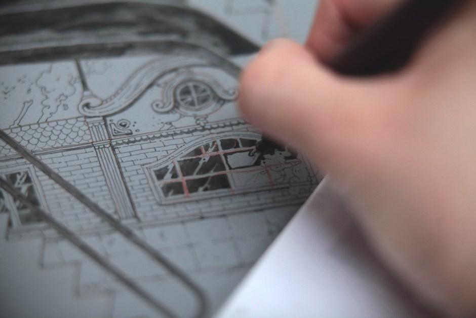 ugo-gattoni-mcbess-sweetbread-lithography-oeuvre-illustration-fine-art-print-collaboration-edition-soldart-36-architecture-brick-france-dessin