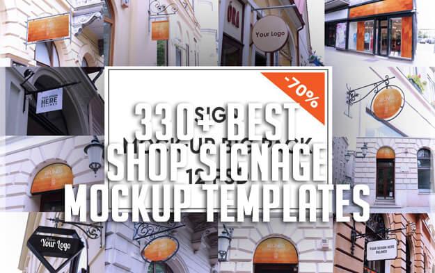 330+ Best Shop Signage Mockup Templates