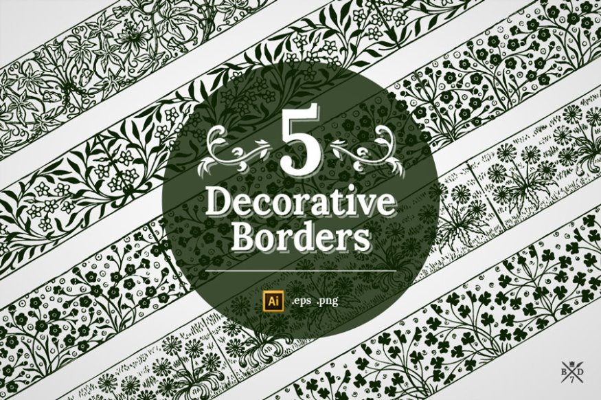 Graphic Ghost - August Deal 01 - Basari Design - 5 Decorative Borders