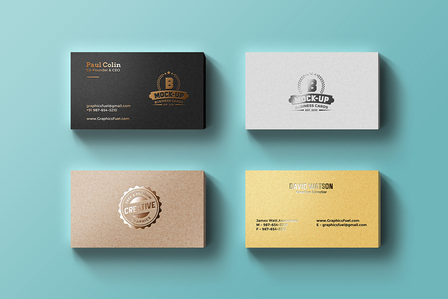 Foil Business Cards Mockup - Graphic Ghost