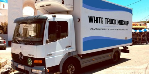 Graphic Ghost - Free White Truck Mockup Template