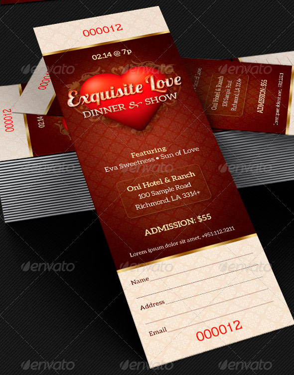 Amazing ticket templates inspiks market for Fundraiser dinner tickets template