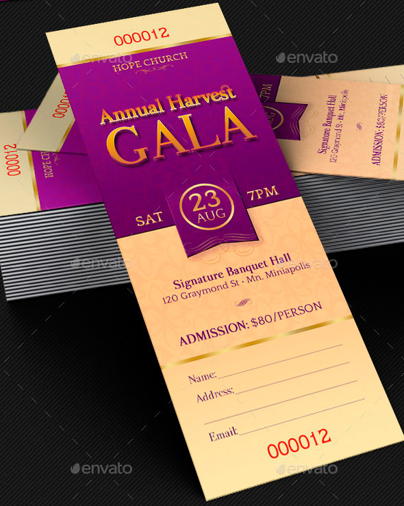 Harvest Gala Ticket Template  Dinner Tickets Template