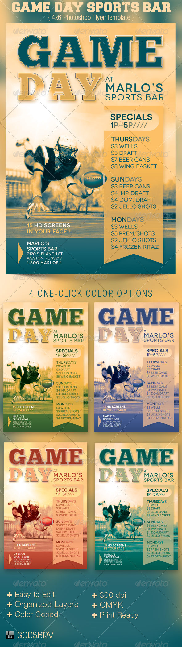 Game day sports bar flyer template graphicmule for Sports day poster template