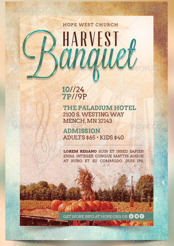 Harvest Banquet Church Flyer and CD Template