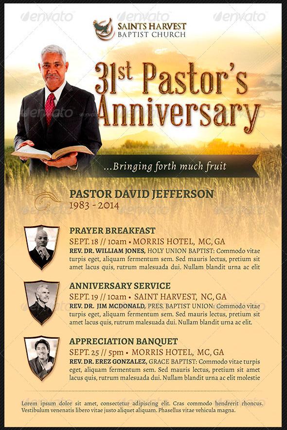 Pastor Anniversary Church Flyer Template: Harvest