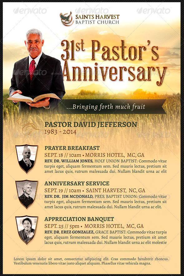 Pastor appreciation flyer templates graphicmule pastor anniversary church flyer template harvest stopboris Choice Image