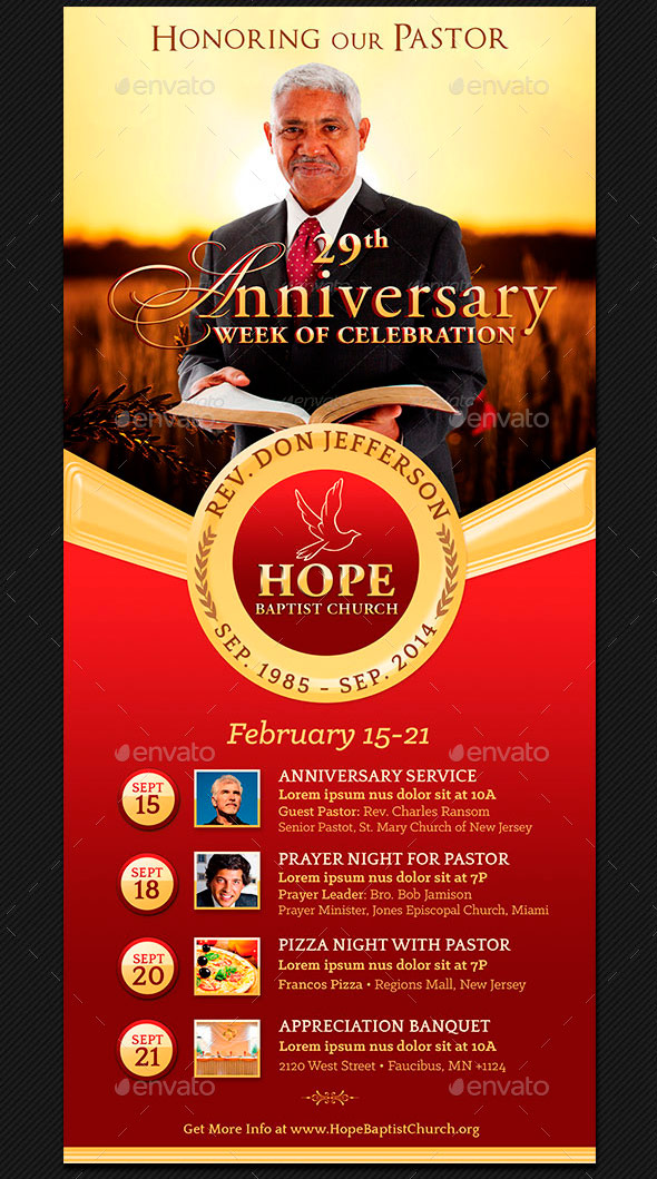 Pastor Anniversary Events Rack Card Template