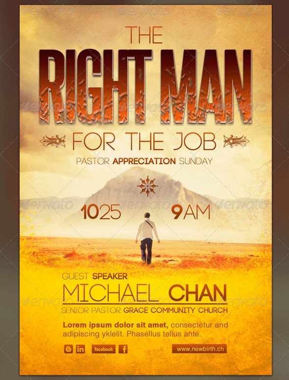 Right Man for the Job Church Flyer Template