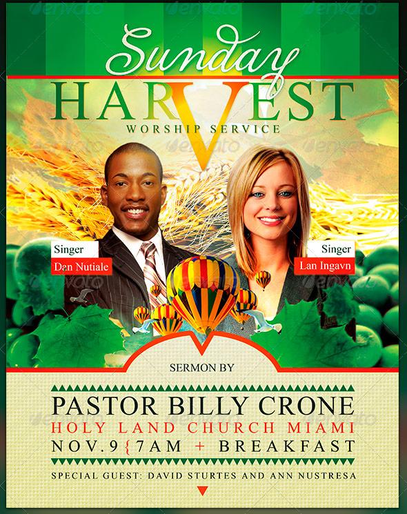 Sunday Harvest: Church Flyer and CD Art Template