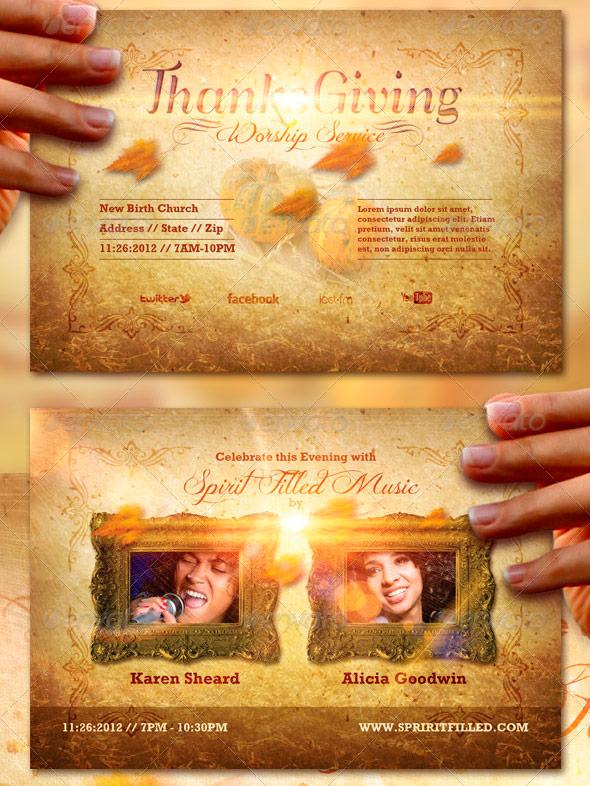 Thanksgiving Celebration Flyer and CD Label